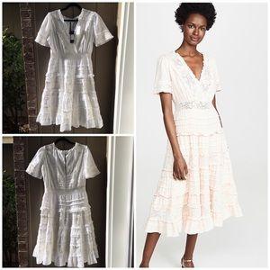 Love Sam Babette midi Cotton Faux Wrap Dress White